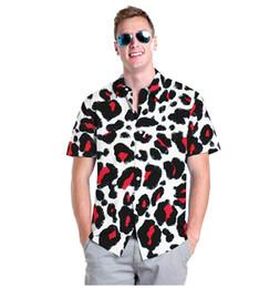 léopard imprimer t-shirts en gros Promotion T-shirt décontracté pour hommes 2019 été de style européen et américain, imprimé léopard, impression 3D, rue des jeunes, chemise en vrac, chemise en gros