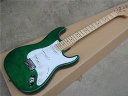 guitarras festoneadas Rebajas Free shippingGreen Electric Guitar con White Pickguard, 3S Pickups, Maple Fretboard, Scalloped Neck, Gold Hardwares, que ofrece un servicio personalizado