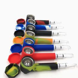 Tampas de tubos on-line-Mais novo cachimbo de silicone com tampas e dicas de filtro tubo de tabaco portátil Euramerican populares cigarro conjunto tabagismo