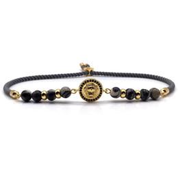 I braccialetti della testa del leone online-Hot Classic braccialetti di lusso braccialetti di alta qualità testa di leone moneta fatti a mano regolabile braccialetto di fascino degli uomini gioielli delle donne regalo di yoga
