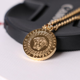 brand gold necklaces Coupons - Medusa Circluar Brand Men Letter Printed Cirlce Brand Necklace Fashion Pendants Hip Hop Rock Gifts for Friends
