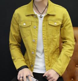 6755c277b 2019 jaqueta de denim amarelo 2018 jaqueta jeans moda outono de cultivar a  moralidade homens jaqueta