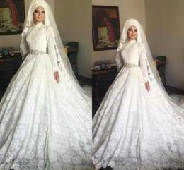 2019 robes de mariée musulmanes taille plus Luxueux Arabe Dubai Robes De Mariée Musulmans Plus La Taille Manches Longues Col En Dentelle Appliques Moyen-Orient Robes De Mariée De Mariée promotion robes de mariée musulmanes taille plus