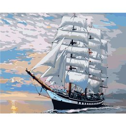 2020 cuadros pintados del barco DIY PBN Sailing Boat Arcylic Painting By Numbers On Canvas Frame Wall Pictures Art para la sala de estar Decoración del hogar cuadros pintados del barco baratos