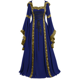 Abito gotico online-Plus Size Summer Dress Women 2019 Vintage Celtic Medioevale Lunghezza del pavimento Rinascimentale Gothic Cosplay Dress donne veste femme