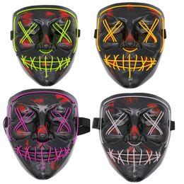 Cráneo resplandor online-Party EL Led Mask Mascara Glow In The Dark Mask Light Up Scary Skull Mask Party Festival Cosplay Disfraz Halloween Brithday Gift