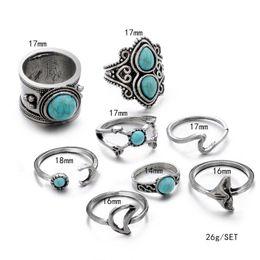 Opal stein finger online-Retro Opale Stein Knuckle Ring Set Boho Natürliche Blaue Stein Blume Fingerringe für frauen Ring Set Schmuck 8 teile / satz