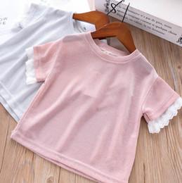 b32355d82 Girls T-shirt kids round collar splicing lace gauze embroidery short sleeve  T-shirt children princess tops 2019 summer new kids clothes F568