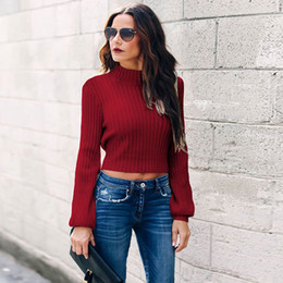 Blusas abertas on-line-Mulheres Sólidos Red Long Sleeve Open Back Casual Outono malha inverno alta Collar Long Sleeve Sweatshirt Blusa Top Curto 4 cores