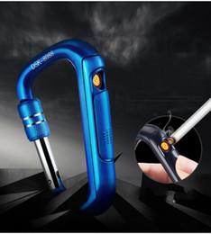 Canada Nouvelle mode mousqueton forme escalade crochet USB électronique rechargeable briquet sans flamme allume-cigare avec cadeau boîte 5 couleur Offre