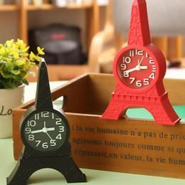 Relógio eiffel on-line-Torre Eiffel Despertador Moda Torre Eiffel Despertador de mesa Relógio de pé Decoração de escritório em casa Presente