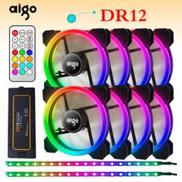 Broche de ventilateur d'ordinateur 12v en Ligne-Aigo DR12 Double RVB Aura Pc Fan 12v 4 Pin 120mm Ventilateur De Refroidissement Pour Ordinateur Silencieux Cas De Jeu Refroidisseur Avec Contrôleur am3 am4