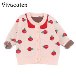 Jaqueta rosa de outono meninas on-line-2018 Garota Outono-Inverno Camisolas Cardigan Kid New Girl Princess Pink Jacket malha Feminino bebê de algodão pequenos Morango Cardigan