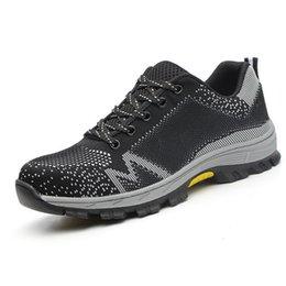 Легкие мужские сетчатые туфли онлайн-Унисекс Стали Toe Shoes Дышащая защитная обувь Мужские легкие анти-разбивающие пирсинг рабочие ботинки Сетчатые кроссовки Защитная обувь