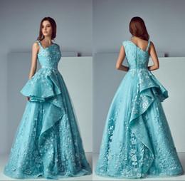 vestido de hortelã floral Desconto Verde Menta 2019 Nova Linha A Lace Vestidos de Baile Longo 3D Floral Applique Trem Da Varredura Vestido Formal Vestidos de Noite vestidos de fiesta