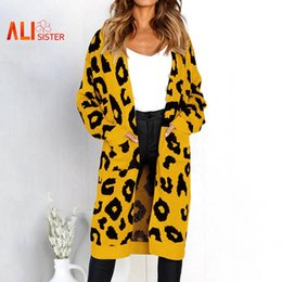 372f59f514 Womens Casual Long Sweater Leopard Print Long Sleeve Coat Outerwear  Cardigan Knitted Open Stitch Sweaters Autumn Winter Clothing