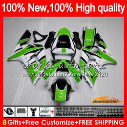 kit corpo branco kawasaki zx6r Desconto Corpo para a Kawasaki 600cc ZX600 ZX636 ZX6R 03 04 36HC.0 ZX 636 6 R ZX 6R 03 04 ZX636 ZX600 ZX6R 2003 2004 completa Fairing kit branco verde quente