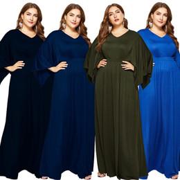 03af75aad7a New women s bat sleeves large size V-neck solid color dress long skirt sexy  evening dress