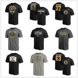 2019 camisas de boston Boston Bruins T-Shirts # 63 Marchand # 37 Bergeron 2019 Copa Stanley Campeões Conferência Leste Hóquei camisas Tees Impresso Equipe Logotipos da marca camisas de boston barato