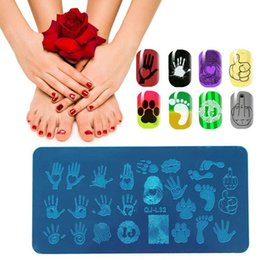 impressão digital para pc Desconto 1 PC Nail Art Stamping Manicure Template Palm Impressão Digital Foot Stamp Placas Prego Molde Stencil Tools Manicure Ferramenta de Arte