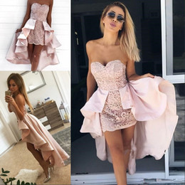 tulle detachable jacket Promo Codes - Modern Sweetheart Lace High Low Homecoming Dress pale Pink Short Prom Cocktail Dresses With Satin Detachable Train