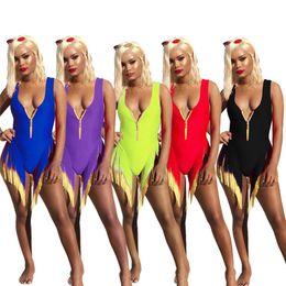 красный бикини шеи Скидка Женщины кисточкой купальники бикини цельный купальник сексуальный Bodycon купальный костюм без рукавов совок шеи Simming одежда 640