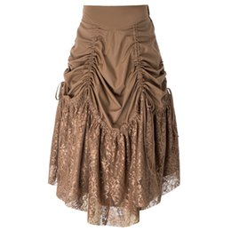Long Skirts Women Retro Vintage Gothic Victorian Steampunk Lace Patchwork  Ruching Skirt ae2db5cf0