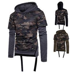 Рубашка с длинным рукавом онлайн-Военная мужская одежда Камуфляж Army Combat Повседневная футболка Мужчины камуфляж с капюшоном с длинным рукавом Охота Тактическая майка C19041201