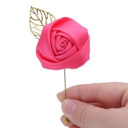 Argentina Novia de la boda del novio Ramillete de raso ramillete de flores de solapa de dama de honor vestidos de flores broche hecho Broche Boda ojal Suministro