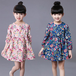 8d9394a85740 Flower Girl Dresses Children Spring New Fashion Clothing Skirt Floral Dress  Korean Child Skirt Long-Sleeved Princess Kids Designer Dress