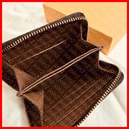 Leinwand reißverschluss brieftaschen online-ZIPPY COIN PURSE M60067 Designer Mode Damen Kurze Brieftasche Reißverschluss Kompakte Karte Münzfach Halter Schlüsseltasche Geldbörse Pochette Braun
