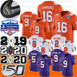 Camiseta diamante online-NCAA Clemson Tigers Jersey Trevor Lawrence Higgins Tee Justyn Ross Sammy Watkins Fiesta Bowl diamante Patch Etienne JR. Fútbol jerseys