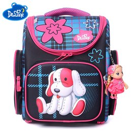 Рюкзаки для девочек онлайн-Russia famous Backpack Delune Orthopedic School Bags girls dog Printing Ultralight Schoolbag Backpack black For Primary children