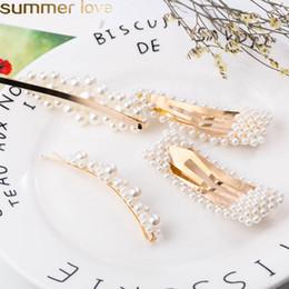 2019 forcella dei capelli Fashion Pearl Clip di capelli per le donne Elegante design coreano Snap Barrette Stick Tornante Hair Styling Accessori di gioielli forcella dei capelli economici