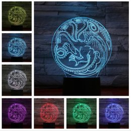 presente do trono do jogo do dragão Desconto 2019 Dragon mother totem 3D LED LAMP Game of Thrones fans gifts fire House of Targaryen NIGHT LIGHT Multicolor RGB Bulb Christmas Decorative