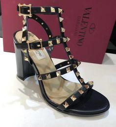 2019 spitze schwarze peep toe flats 2019 Beliebte Marke frauen High Heels 9,5 CM Valen Rivet Espadrilles Schuhe Casual Sandalen Leder Hausschuhe 34-41