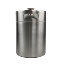 Bobine di birra in acciaio online-Grower birra in acciaio inox 5L 169oz., Mini birra Keg, bottiglia di birra, Home Brewing Homebrew Mini Keg Growler