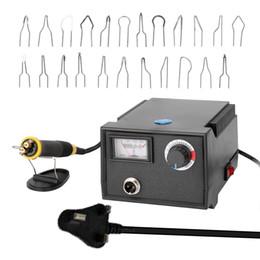 2019 cabeças de caneta a laser Elétrica Multifuncional Gourd madeira Pyrography Máquina Pointer Instrumento laser gravadora com 23pcs Chefes Aquecimento Pen cabeças de caneta a laser barato