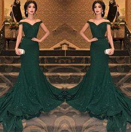 2019 robe kate middleton longue pourpre 2019 Élégant Arabe Vert Foncé Paillettes Sirène Robes De Soirée De L'épaule Ruché Longueur De Plancher Du Soir Robe De Bal Robes De Soirée BC0792