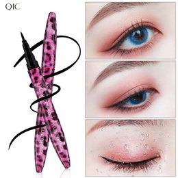 cool paintings Promo Codes - Original Brand QIC Red Leopard Eyeliner Waterproof Non-smudge Quick Dry Cool Black Eyeliner Pen Red Leopard Painting
