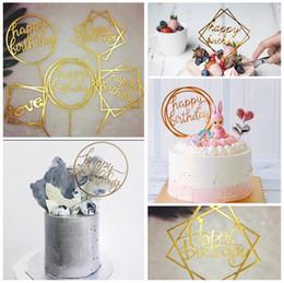 buon oro di compleanno Sconti 50 Styles Happy Birthday Cake Topper Inserti per torta Acrilico Lettera Oro argento Cake Top Flag Decoration per bambini Festa di compleanno