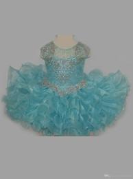 Маленькие платья для розовых платьев онлайн-Bling Bling Little Rosie Baby Girls Pageant Dresses 2019 оборками юбка Аква кекс блеск малыша Pageant платья с крышкой рукава