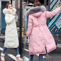 manteau en coton Promotion 2019 nouveaux duvet filles remplies de taille à la taille manteau d'hiver manteau col de fourrure longue robe en coton épaissie bas grande veste à capuchon