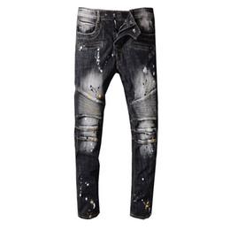 Vend des jeans déchirés en Ligne-Vente chaude Hommes Designer Jeans Haute Qualité Déchiré Denim Biker Pants Distressed Zipper Jeans Hip Hop Taille 29-42