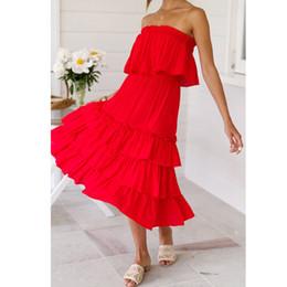 Donna 2 pezzi Off Shouder Tops Abiti Abito lungo Bohemia Maxi Beach Sets  Abbigliamento sexy club Elegante abito rosso bianco Clorhes 2019 7d0cb56de93