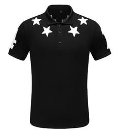 Weißes t-shirt polo online-Neue 2019 Sommer Revers Shirt Herren T-Shirt Kurzarm schwarz weiß fünfzackigen Stern T-Shirt Herren Designer T-Shirt POLO Mode T-Shirt 133