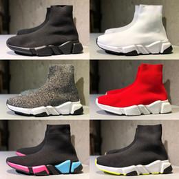 2020 botas de punto gris para las mujeres Luxury Paris Triple-s High Speed Stretch-Knit Socks Boots Zapatos Triple-s Negro Blanco Gris Zapatos casuales Mujer Hombres Diseñador Multicolor rebajas botas de punto gris para las mujeres