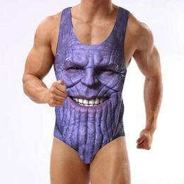 2019 homens um pedaço swimsuits Vingadores Imprimir One-Piece Swimsuit Thanos Bikini Beachwear Tanga Maiôs S-3XL para o homem homens um pedaço swimsuits barato