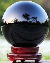 Хрустальный шар черный онлайн-Черный Азиатский природный кварц Магический кристалл стекла Healing Болл Sphere + Подставка 40 мм 60 мм 80 мм 100 мм