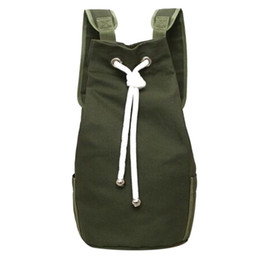 small string man 2019 - Casual Men Canvas Backpack Large Capacity Barrel  Backpack Army Green String d7e7236cf9e56
